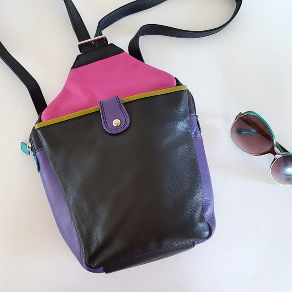 huge discount classic styles sports shoes ILI Mini Backpack Purse Leather Colorblock Sling